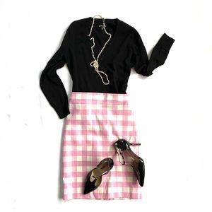 J. Crew Pink Checked Skirt